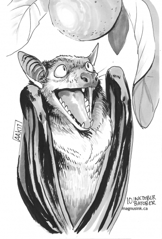 bat pen and ink
